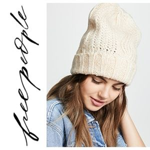 Free people harlow ivory knit beanie less white